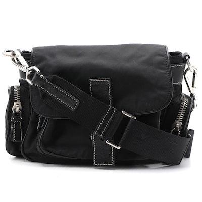 Prada Black Tessuto and Contrast-Stitched Leather Crossbody Bag