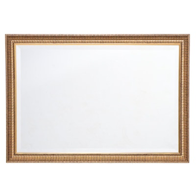 Rectangular Gilt Composite and Beveled Glass Wall Mirror