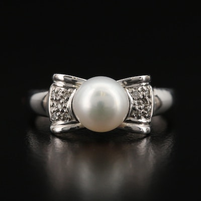 14K Pearl and Diamond Bow Ring