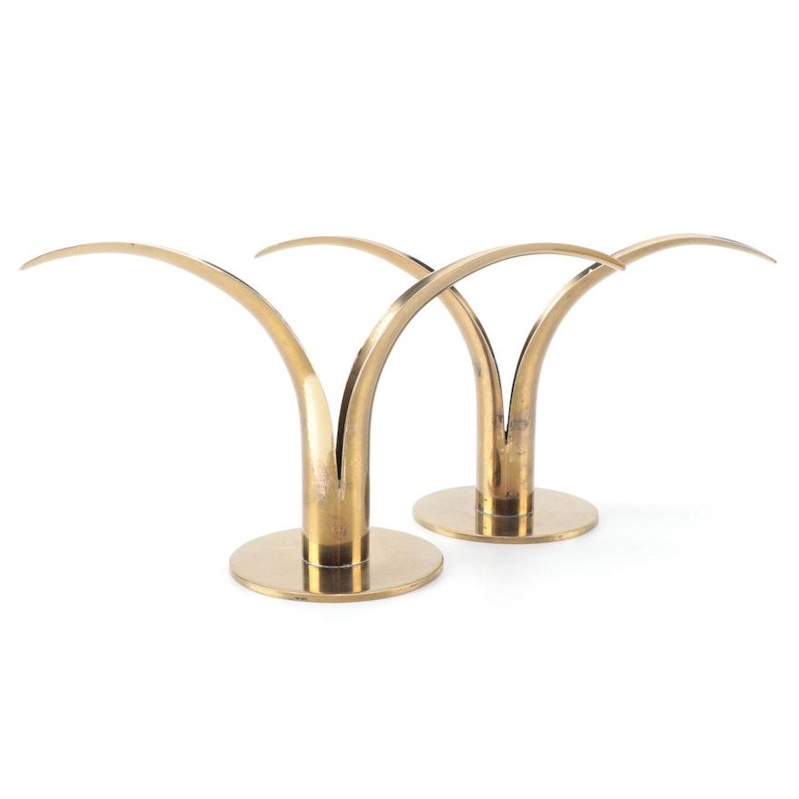 "Mid Century Modern Ystad-Metall ""Liljan"" Brass Candle Holders, Mid-Late 20th C"