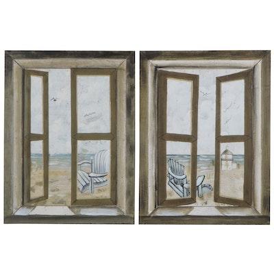 Contemporary Acrylic Paintings of Windows, 21st Century