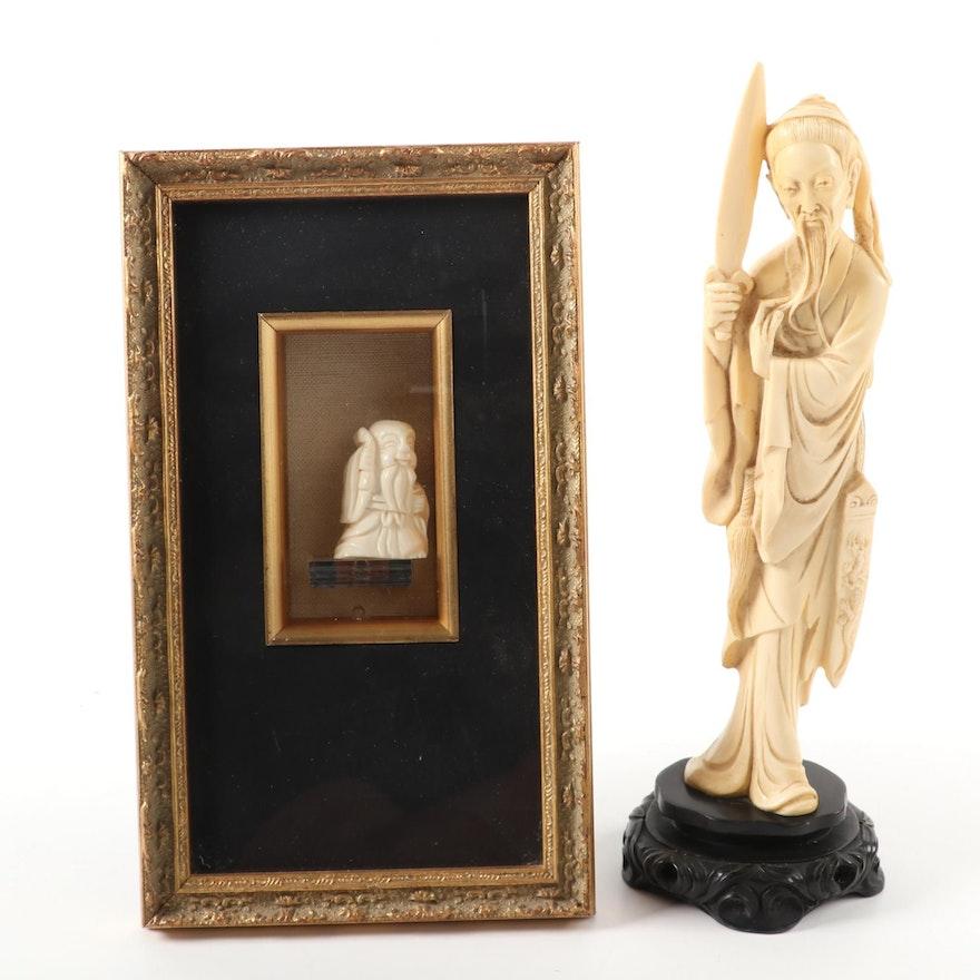 Chinese Figure and Japanese Miniature Jurōjin Figure