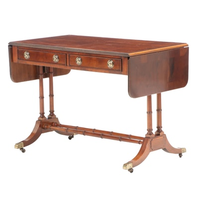 Hekman Regency Style Yew Wood Sofa Table, Late 20th Century
