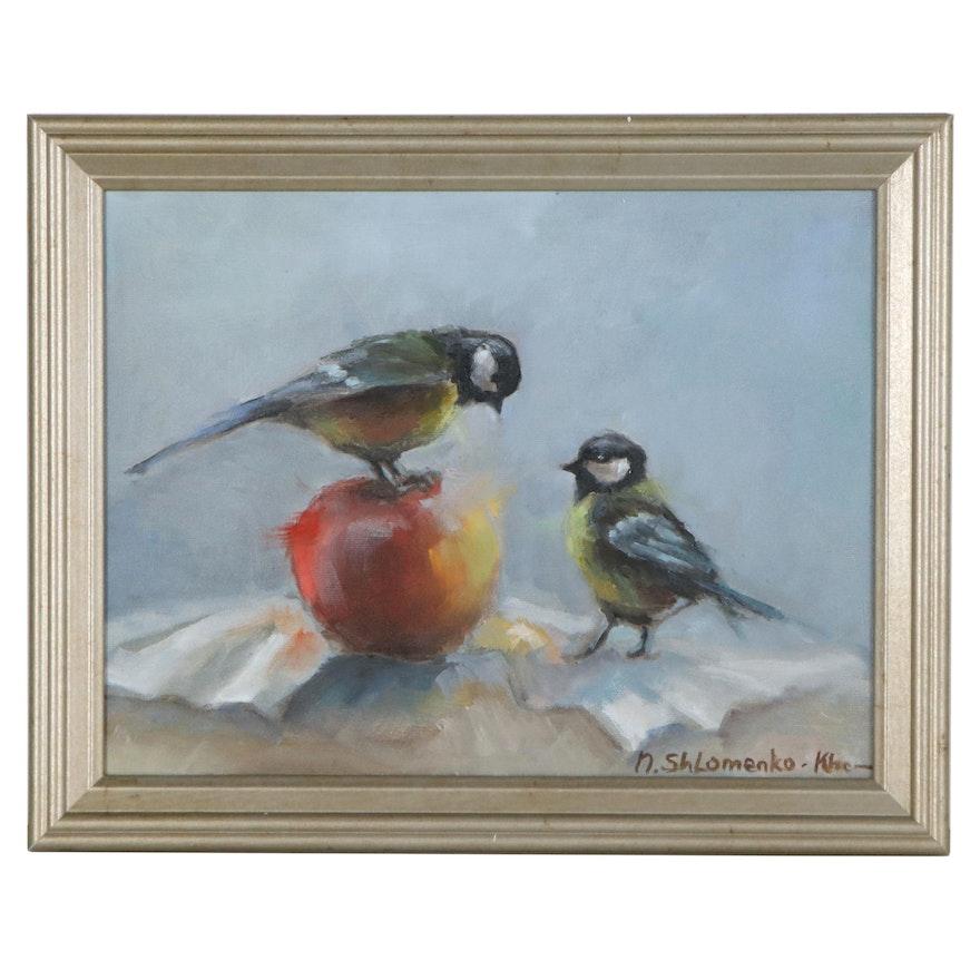 "Nataliya Shlomenko Oil Painting ""Birds and Apple,"" 2021"