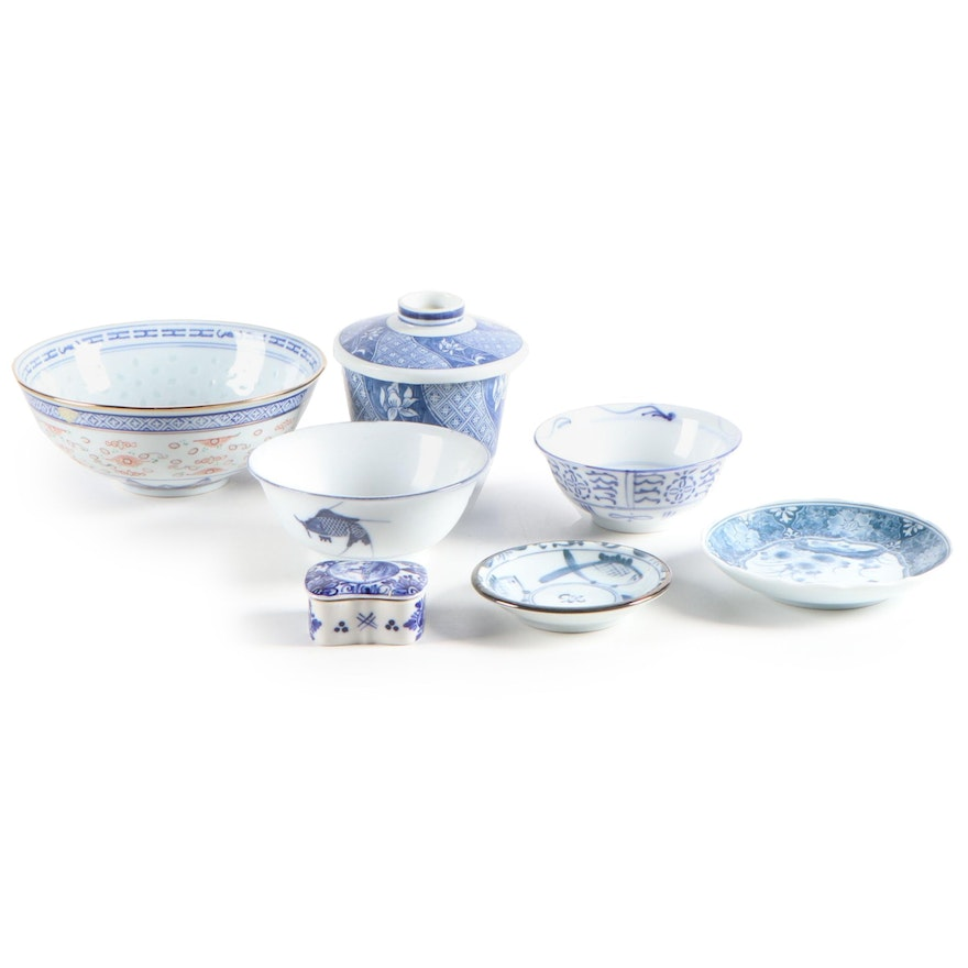 Chinese Porcelain Rice Grain and Other Bowls with J.O.A. Delft Box