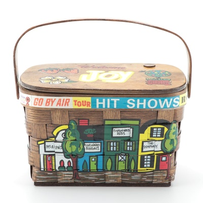 "Caro-Nan ""McAlpins"" Cincinnati-Themed Painted Wooden Basket Bag"