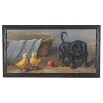 "Nataliya Shlomenko Oil Painting ""Puppy and Duckling,"" 2021"
