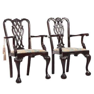 Chippendale Style Mahogany Arm Chairs