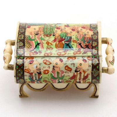 Indo-Persian Hand-Painted Bone Scholars Scene Jewelry Box, Late 20th Century