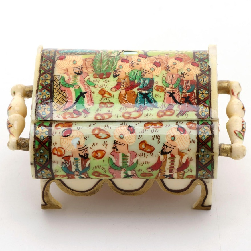 Indo-Persian Hand-Painted Bone Scholars Scene Jewelry Box, Late 20th Century