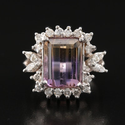 14K Ametrine and Diamond Halo Ring