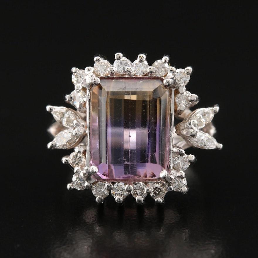 14K Ametrine and Diamond Halo Ring