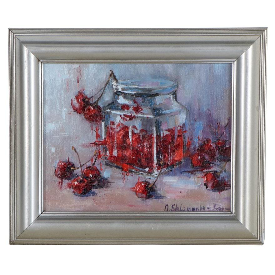"""Nataliya Shlomenko  Oil Painting """"Cherry Jam,"""" 2020"""