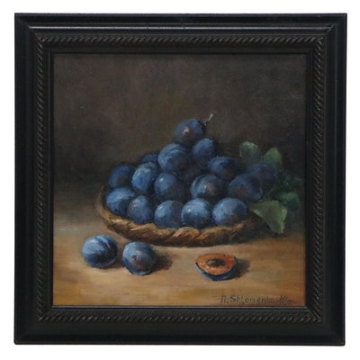 "Nataliya Shlomenko Still Life Oil Painting ""Plums,"" 2020"