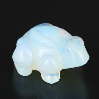 Opalized Glass Carved Frog Figurine