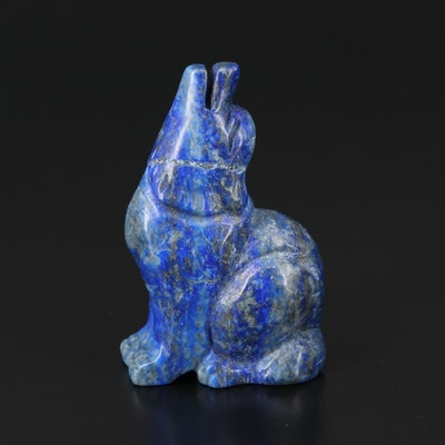 Carved Lapis Lazuli Howling Wolf
