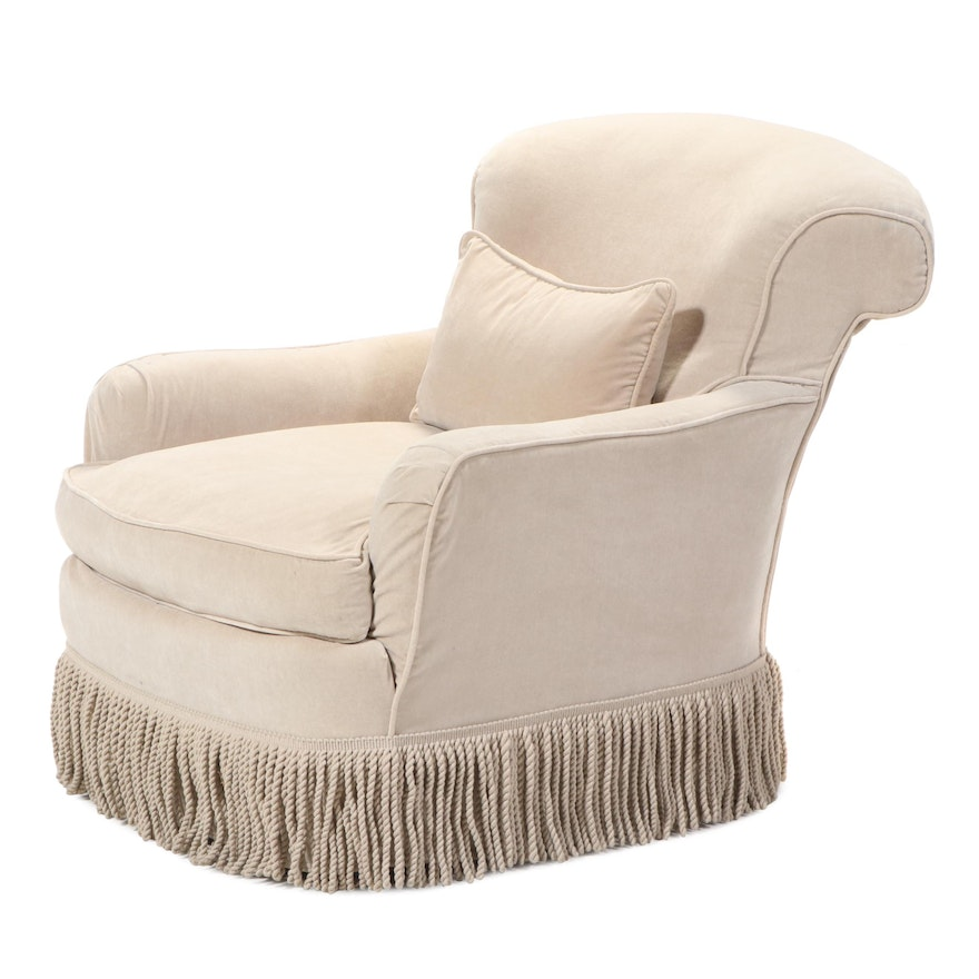 Bullion Fringe Slipcovered Armchair