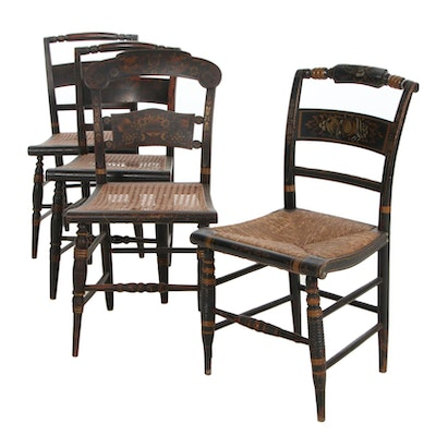 L. Hitchcock Federal Style Gilt-Stenciled Chairs, 19th Century