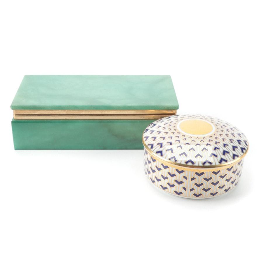 "Tiffany & Co. ""Manhattan Blue"" Porcelain Trinket Box with Alabaster Trinket Box"