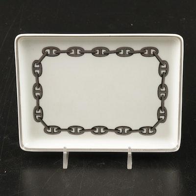 """Hermès """"Chaine d'Ancre"""" Platinum Decorated Porcelain Tray"""