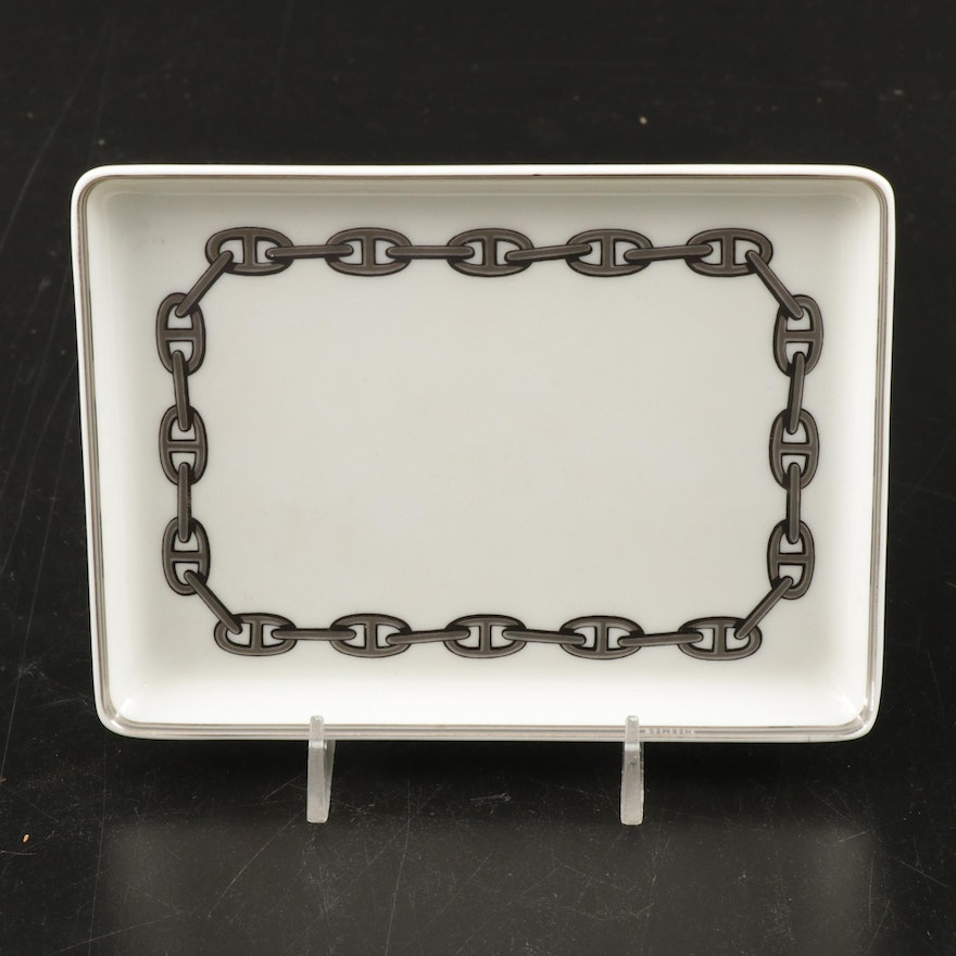 "Hermès ""Chaine d'Ancre"" Platinum Decorated Porcelain Tray"