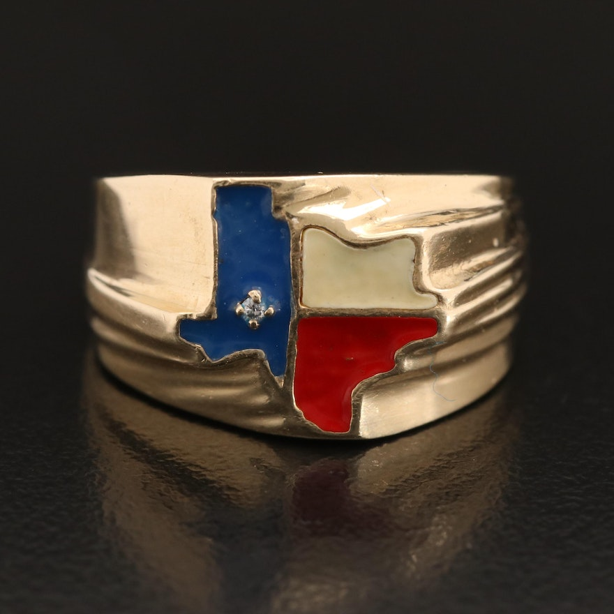 10K Enameled Texas Ring with Diamond Accent