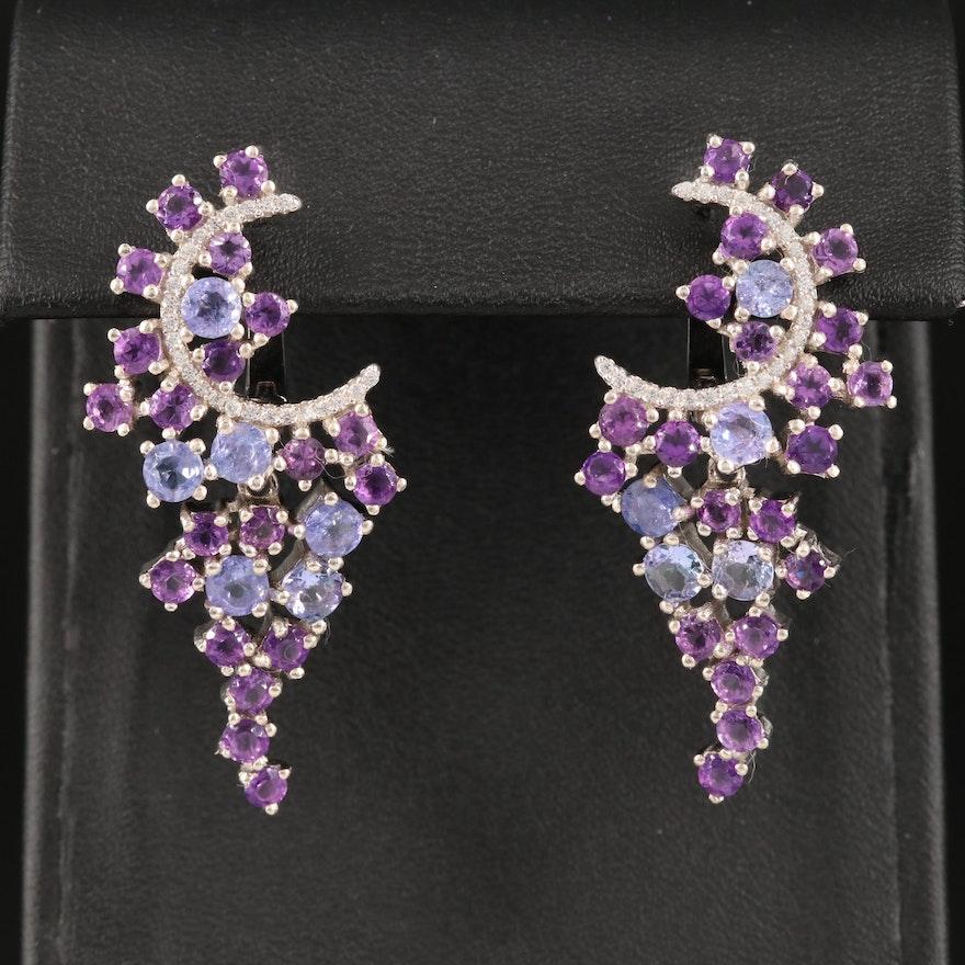 Sterling Amethyst, Tanzanite and Cubic Zirconia Earrings
