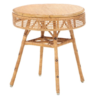 Woven Cane Open Apron End Table