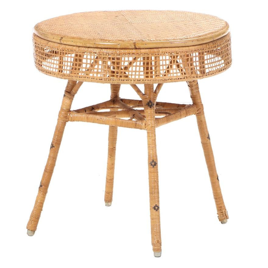 Woven Cane Open Apron End Table