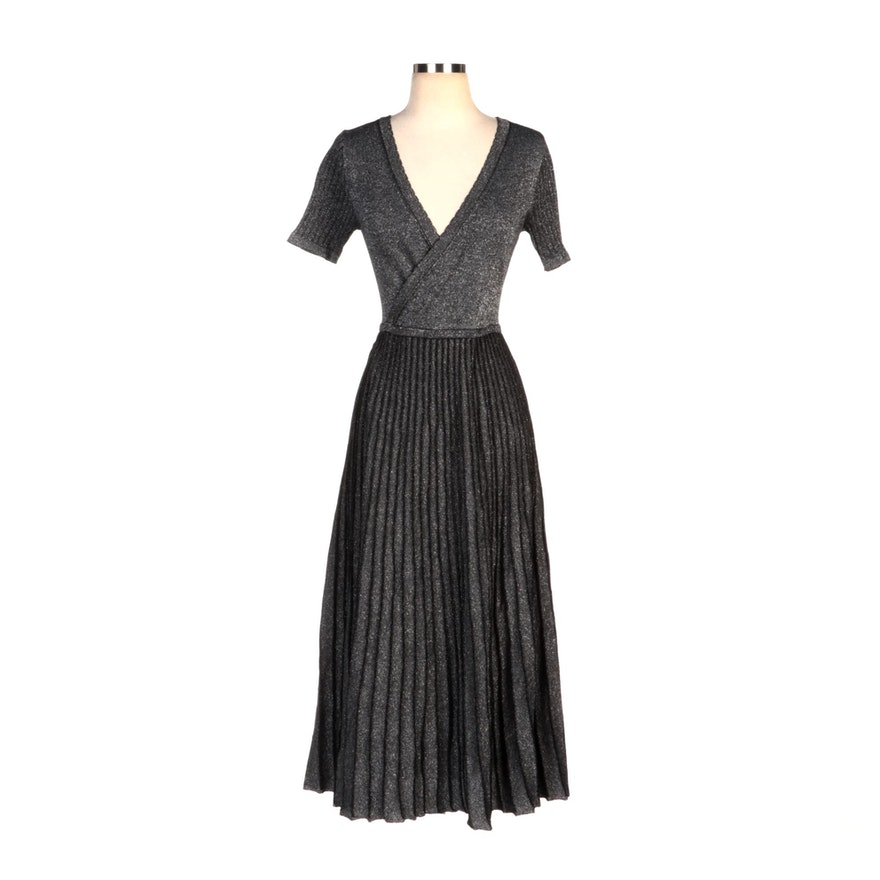 Soft Surroundings Metallic Knit Pleated Skirt Dress