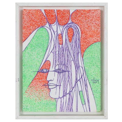 Albert Radoczy Acrylic Painting of Abstracted Face, 1996