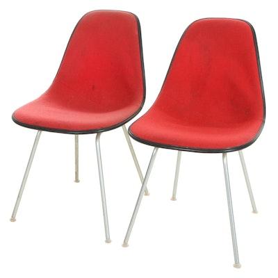 Eames for Herman Miller Mid Century Modern Padded Fiberglass Side Chairs, 1970s