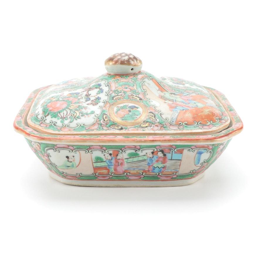 Chinese Rose Medallion Porcelain Covered Dish