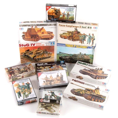 Italeri, Tamiya, Tristar, and Airfix Unassembled WWII German Military Model Kits