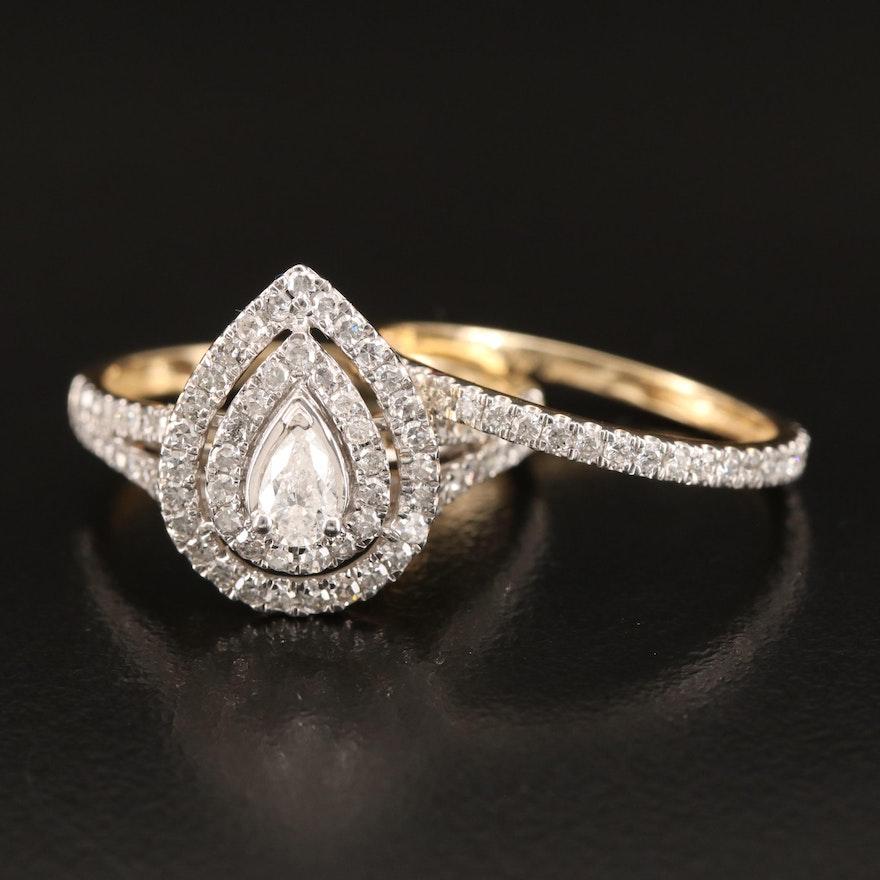 14K 1.18 CTW Diamond Ring and Shadow Band Set