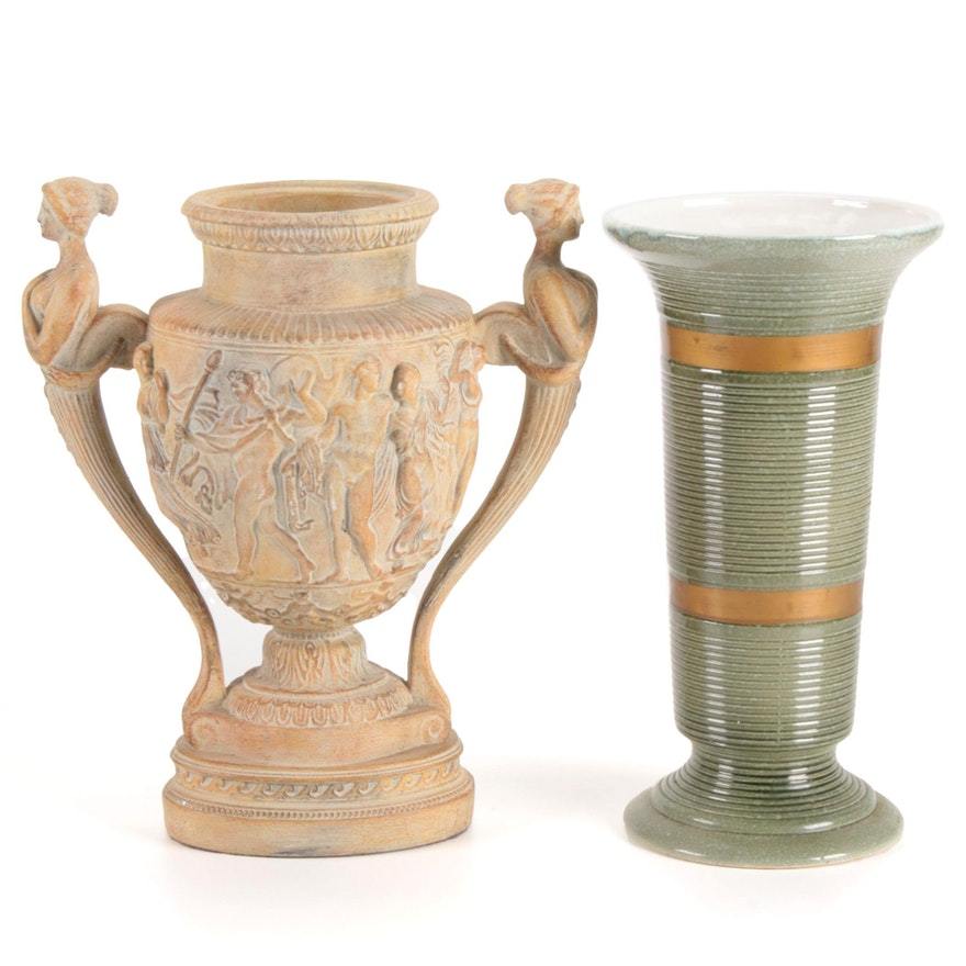 "Hull Pottery ""Gold Metal"" Vase with Greek Siren High-Relief Urn Planter"
