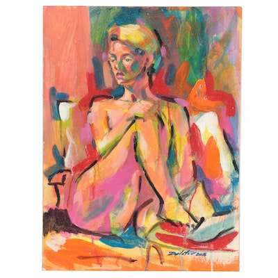 Raymond Zaplatar Acrylic Painting of Female Figure, 2016