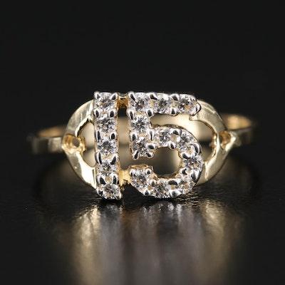 14K Cubic Zirconia Quinceañera Ring