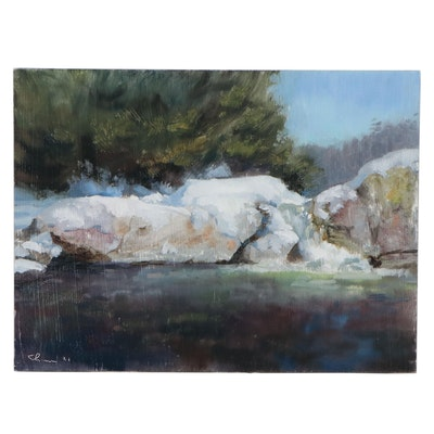 """Shane Harris Oil Painting """"Snow At Buttermilk Falls - Ludlow,"""" 2021"""