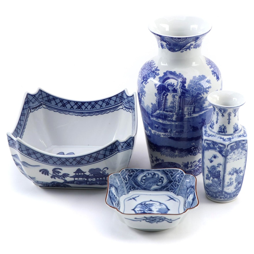 """Spode """"Blue Italian"""" Vase with Other Chinese Blue and White Porcelain"""