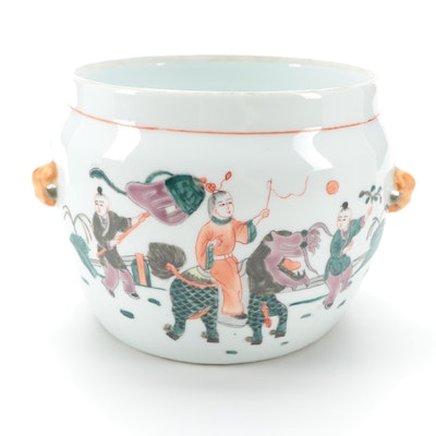 Chinese Tongzhi Style Porcelain Rice Warmer with Pictorial Scene