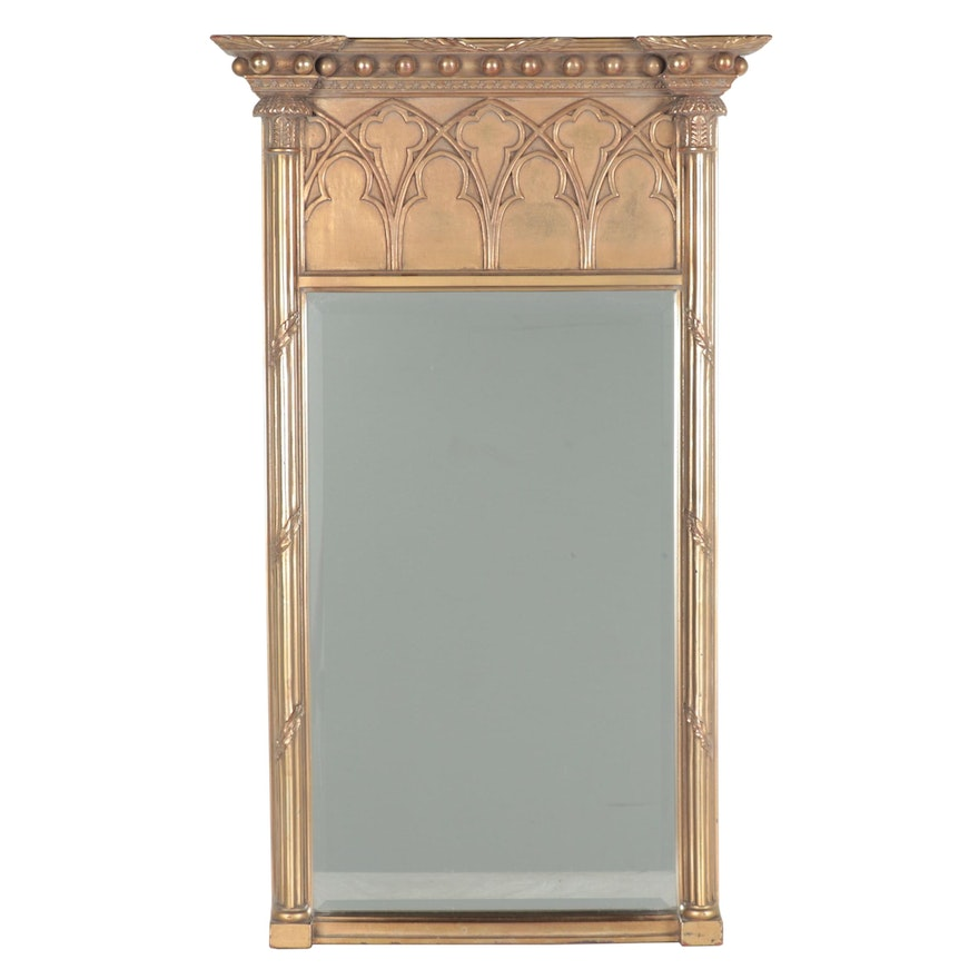 The Uttermost Company Gothic Revival Style Gilt Pier Mirror, Late 20th Century