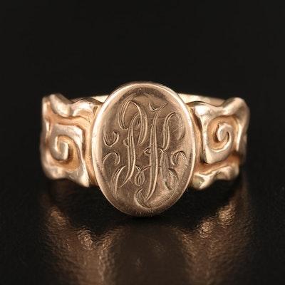 10K Monogrammed Ring