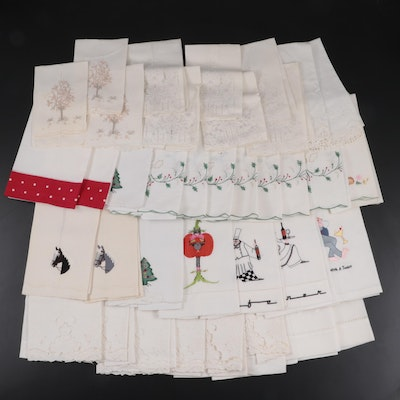 Embroidered and Open Work Cotton and Linen Napkins and Tea Towels
