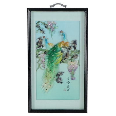 Japanese Mother of Pearl and Imitation  Gemstone Sculpture of Peacocks