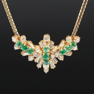 14K Emerald and 2.30 CTW Diamond Necklace