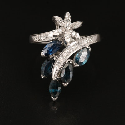 14K Sapphire and Diamond Ring with Floral Design
