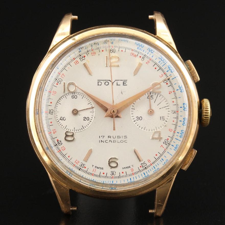 Vintage Doyle 18K Gold Chronograph Stem Wind Wristwatch