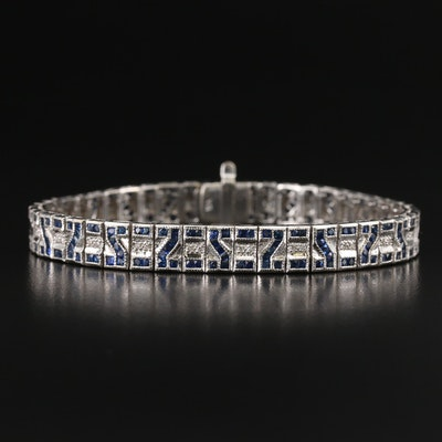 Art Deco Inspired 18K Diamond and Sapphire Bracelet