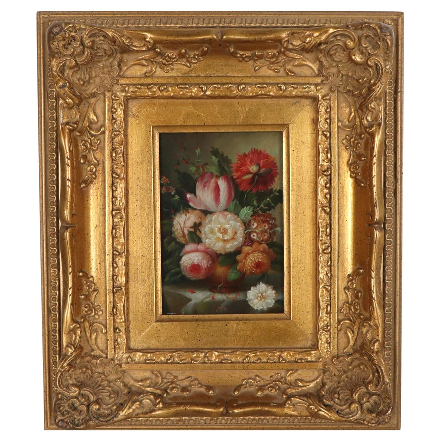Still Life Oil Painting of Flower Arrangement, Late 20th Century
